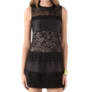 DVF Alty Astra Novelty Black Sheer Feather Dress